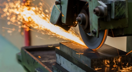 grinding machine on work and spark Stock Photo - 22027462