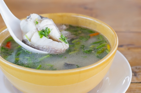 snakehead: thai food snakehead fish Hot and sour soup