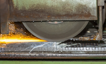 grinding machine on work and spark Stock Photo - 22270488