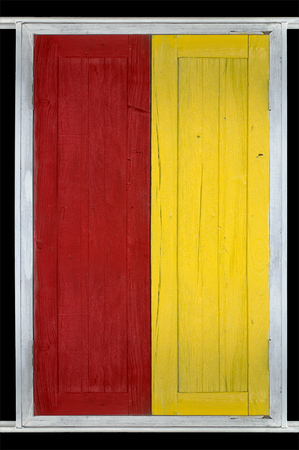 louver boards: plank window painted with red, yellow  color paint and black background