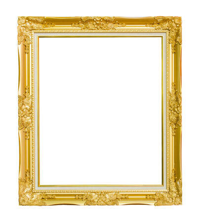 Gold vintage frame isolated on white background photo