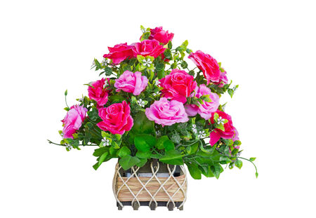 basket red and pink Bouquet rose isolate white background photo