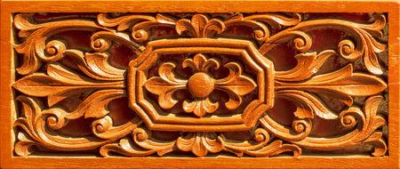wood carving flowers thai art