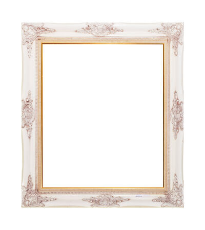 wood frame carve white isolate background photo