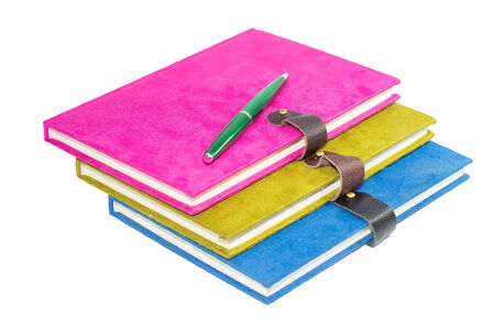 Colorful diary book and penl isolate on white background