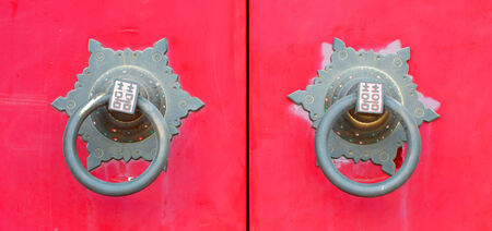 close up door knocker chinese stly on red door in chinese temple Stock Photo