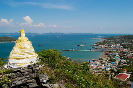 Pagoda on hilltop and landscape view village and town at Srichang Island Pattaya Thailand Stock Photo