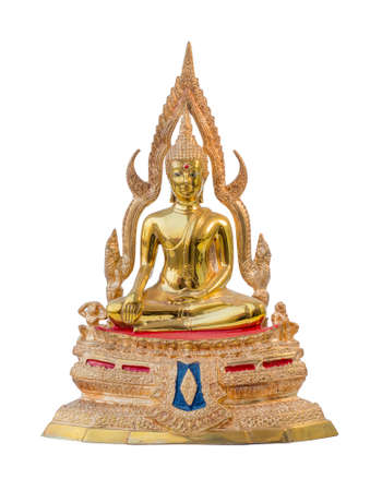 Traditional ancient gold Buddha statue isolate white background