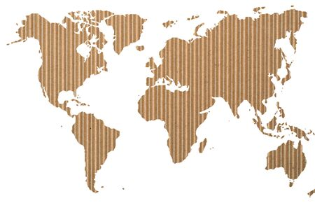 world map on corrugated  paper Stock Photo