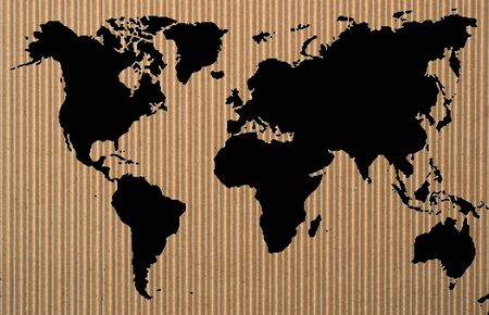 black world map on corrugated  paper Stock Photo