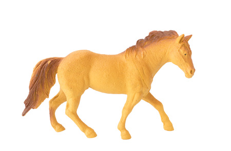 brown plastic Horse toy isolate white background