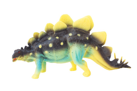 Stegosaurus dinosaur plastic toy isolate white background Stock Photo