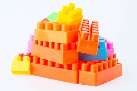 colorful Plastic building blocks.