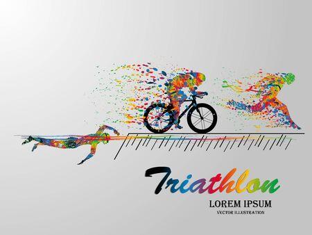 Visuelles Zeichnen von Schwimm-, Rad- und Läufersport mit hoher Geschwindigkeit im Triathlon-Spiel, farbenfroher, schöner Designstil auf weißem Hintergrund für Vektorillustration