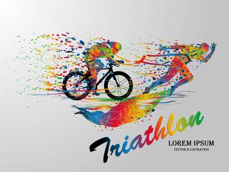 Dibujo visual de natación, ciclismo y deporte de corredor a gran velocidad en el juego de triatlón, estilo de hermoso diseño colorido sobre fondo blanco para ilustración vectorial