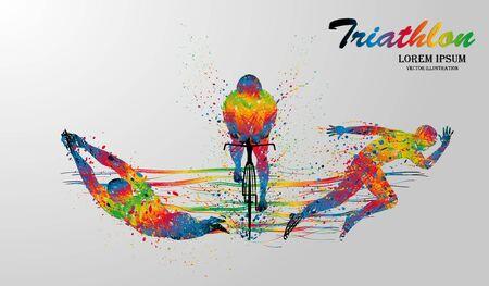 Disegno visivo nuoto, ciclismo e sport runner ad alta velocità nel gioco del triathlon, bellissimo stile di design colorato su sfondo bianco per illustrazione vettoriale Vettoriali