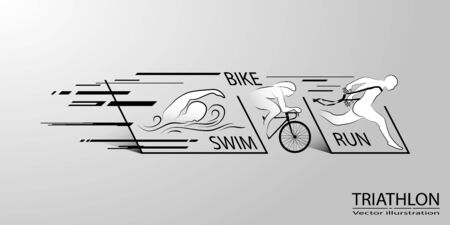 Visual drawing swimming, cycling and runner sport at fast of speed in triathlon strat to stop game, line design style by step on background for vector illustration, exercise sport concept - Vector