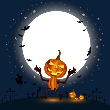 Halloween Holidays calabash Gourd in front of the big moon with a cloud below In the night with a star full of blue