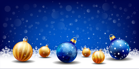 happy New Year Christmas snowing Ball background, Text input box,Blue background
