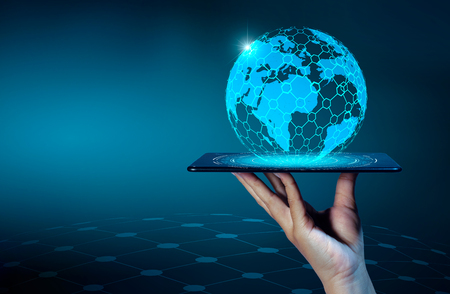 Smart Phones and Globe Connections Uncommon communication world Internet Businesspeople press the phone to communicate in the Internet. Space put message Blue tone 版權商用圖片