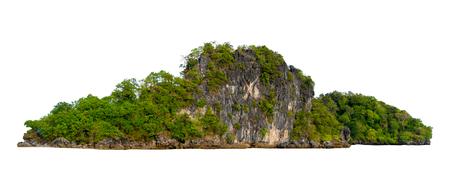 Aislar la isla en medio del fondo blanco del mar verde separada del fondo