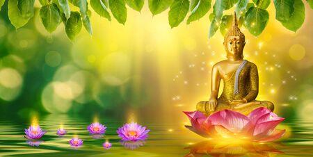 Buddha Statue Wasser Lotus Buddha steht auf Lotusblume auf orange Hintergrund