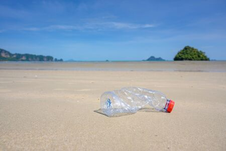 Plastic waste on the beach, sea, concept of nature and environment preservation