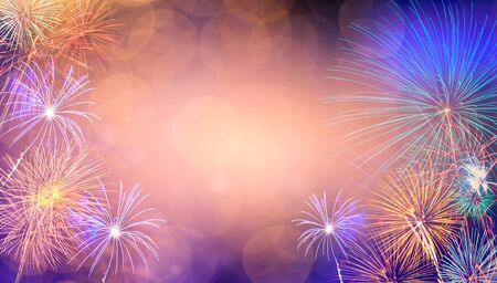 Abstract  Background With Fireworks.Background of new years day celebration Many colorful Stok Fotoğraf