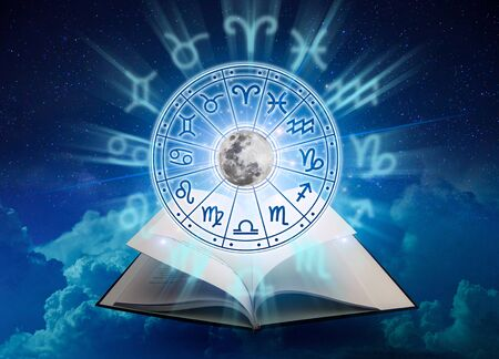Zodiac signs inside of horoscope circle. Astrology in the sky with many stars and moons  astrology and horoscopes concept Banco de Imagens