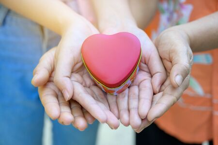 The hands of children and adults in the family have a heart in their hands. Banco de Imagens