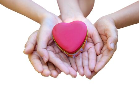 The hands of children and adults in the family have a heart in their hands. Isolate