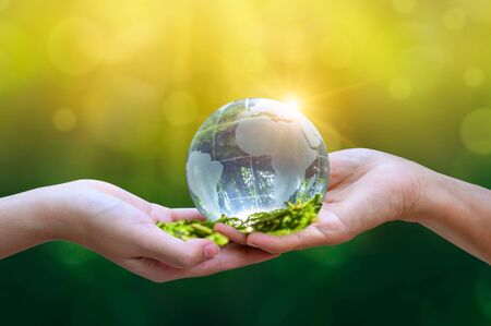 Concept Save the world save environment The world is in the grass of the green bokeh background Banco de Imagens