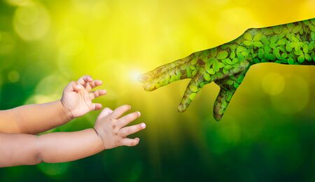 environment Earth Day Hands from nature are helping people. Nature's concept.