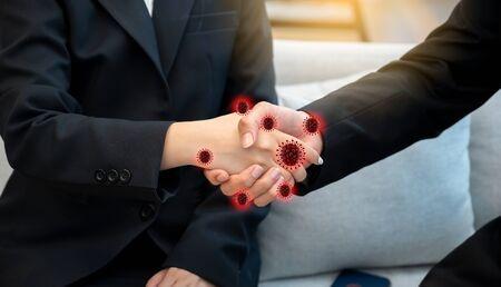 covid19 corona virus shaking hands People shaking hands and having a virus at hand