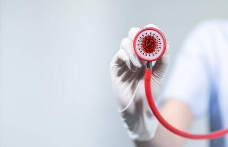 corona virus, covid-19 Female doctor with tools, white background