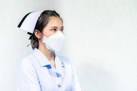 Nurses wear masks to protect against coronavirus covid19 版權商用圖片