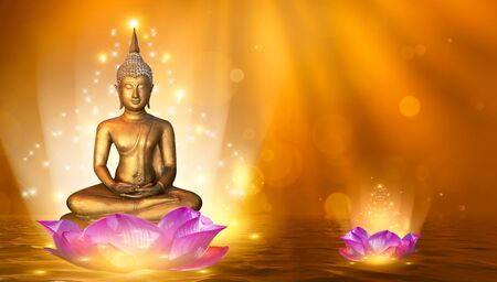 Buddha statue water lotus Buddha standing on lotus flower on orange background 版權商用圖片 - 146267046