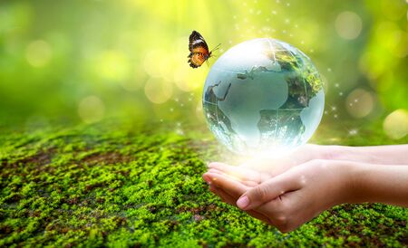 A man with a glass globe Concept day earth Save the world save environment The world is in the grass of the green bokeh background 版權商用圖片