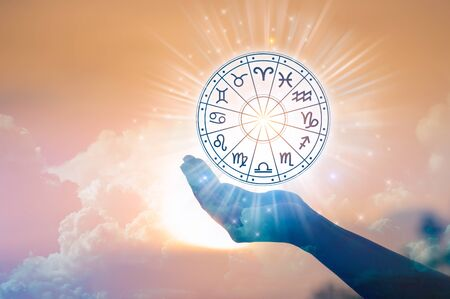 Zodiac signs inside of horoscope circle. Astrology in the sky with many stars and moons  astrology and horoscopes concept Stok Fotoğraf