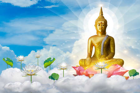 Buddha floating in the sky on lotus flower