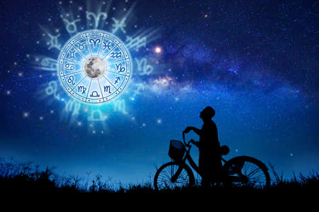 Zodiac signs inside of horoscope circle. Astrology in the sky with many stars and moons  astrology and horoscopes concept 版權商用圖片