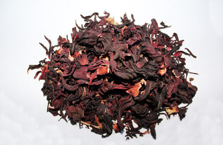 loose leaf: Red tea, hibiscus, isolate white background