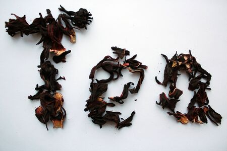 rooibos: inscription tea red white background isolate