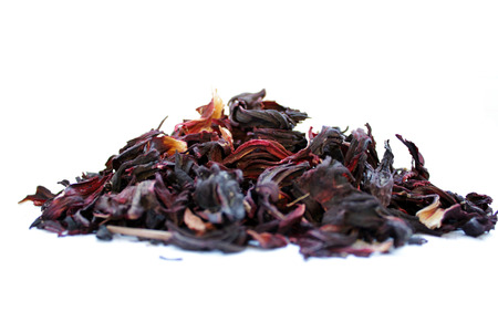 rooibos: Red tea, hibiscus, isolated white background
