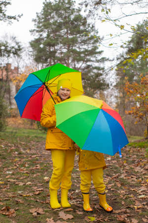 Cute happy little boy and a girl - brother and sister - in identical yellow costumes and hats walking in the forest with rainbow-colored umbrellas. Cosiness, family.
