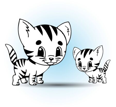 Illustration of cute cat vector graphics. Great for animals or coloring books