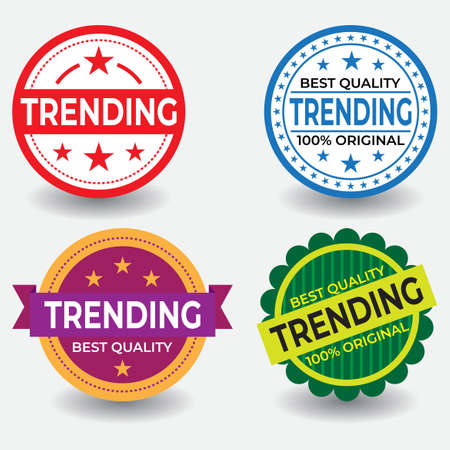 Trending stamps set. Great vector for computers, laptops, social media, web, online stores, product marketing, sales promotions, discount coupons, fashion etc.
