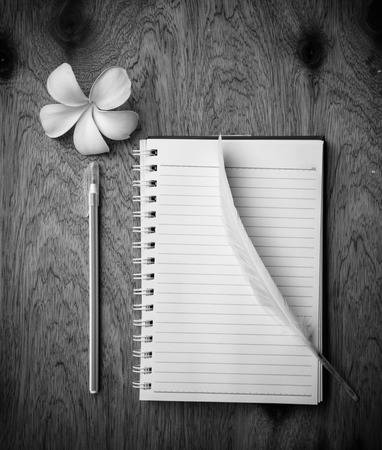 piuma bianca: blank notebook with White Feather  and pen on wooden table, black and white concept