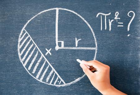 matematica: Cálculos escritos por la tiza blanca en el fondo de la pizarra, pizarra verde