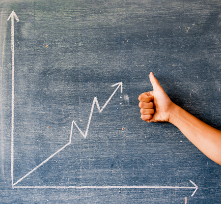 greenboard: graph drawn on a blackboard,greenboard Stock Photo